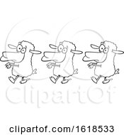 Poster, Art Print Of Cartoon Outline Line Of Sheep Following