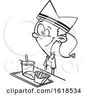 Poster, Art Print Of Cartoon Outline Girl Working Fast Food