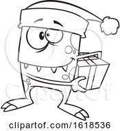 Cartoon Outline Christmas Elf Monster Holding A Gift