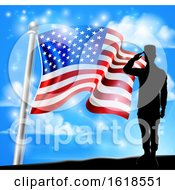 Poster, Art Print Of Patriotic American Flag Soldier Salute Design