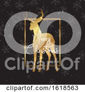 Christmas Background With Gold Deer Silhouette by KJ Pargeter