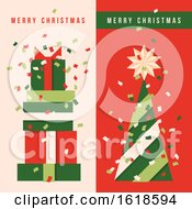 Two Vertical Banners With Christmas Tree Holiday Gifts And Colorful Confetti In The Air