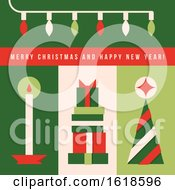 Minimalistic Greeting Card With Christmas Tree Lights Candle And Holiday Gifts