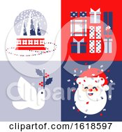 Set Of Elegant Christmas Cards With Snow Globe Holiday Gifts White Dove And Cute Santa Claus