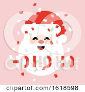 Flat Style Pastel Color Christmas Card With Paper Confetti In The Air And Cute Santa Claus Saying Ho Ho Ho