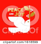 Poster, Art Print Of Red And Gold Christmas Card With Wishes Of Peace And Joy And Dove Holding Holly Branch