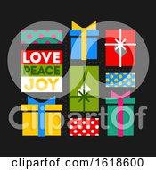 Christmas Card With Flat Multicolored Holiday Gifts And Wishes Of Love Peace And Joy