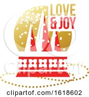 Poster, Art Print Of Red And Gold Greeting Card With Christmas Glass Ball With Christmas Tree And Wishes Of Love And Joy