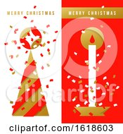 Two Vertical Greeting Cards With Christmas Tree Holiday Candle And Colorful Confetti In The Air