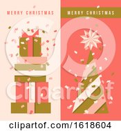 Two Vertical Flyers With Christmas Tree Holiday Gifts And Colorful Confetti In The Air
