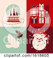 Set Of Retro Christmas Cards With Snow Globe Holiday Gifts White Dove And Cute Santa Claus