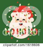 Poster, Art Print Of Retro Style Christmas Card With Cute Santa Claus Saying Ho Ho Ho And Colorful Confetti In The Air