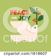 Christmas Card With White Dove Holding Holly Branch And Wishes Of Peace And Joy