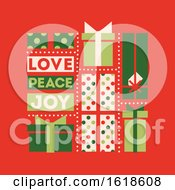 Poster, Art Print Of Retro Style Christmas Card With Holiday Gift Boxes And Wishes Of Love Peace And Joy