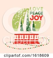 Poster, Art Print Of Retro Style Christmas Card With Snow Globe And Wishes Of Love Peace And Joy