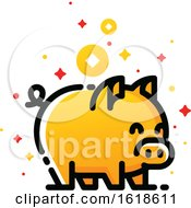 Poster, Art Print Of Golden Pig As Symbol Of 2019 Chinese New Year Isolated On White Background Editable Stroke