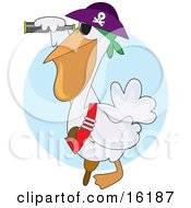 White Pelican Pirate In A Jolly Roger Hat Looking Through A Telescope Clipart Illustration Image by Maria Bell