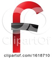 Red And Black Curvy Letter F