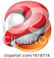 Poster, Art Print Of 3d Red And Orange Glossy 3d Sphere