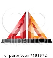 Red Orange And Black 3d Pyramid