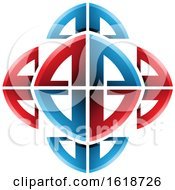 Red And Blue Ornamental Bow Shapes Design