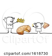 Poster, Art Print Of Stick Woman And Daughter With Epiphany Cake