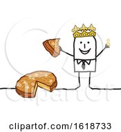 Stick Man Wearing A Crown And Eating Epiphany Cake