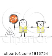 Stick Couple Wearing Safety Vests And Holding A Stop Sign