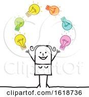 Poster, Art Print Of Stick Woman Juggling Idea Light Bulbs