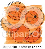 Watercolor Design With Oranges