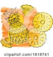 Watercolor Design With Pineapple