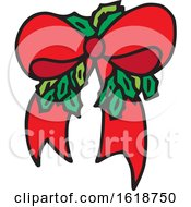 Red Christmas Bow With Holly by Cherie Reve