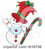 Snowman Holding A Candy Cane