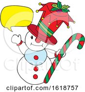 Talking Snowman Holding A Candy Cane