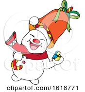 Poster, Art Print Of Happy Snowman Holding A Bird