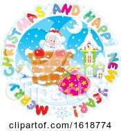 Merry Christmas And Happy New Year Greeting In A Circle Around Santa In A Chimney
