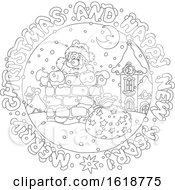 Black And White Merry Christmas And Happy New Year Greeting In A Circle Around Santa In A Chimney