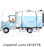 Man Driving A Water Delivery Truck