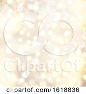 Poster, Art Print Of Golden Christmas Background With Snowflakes And Stars