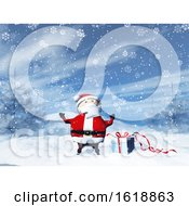 3D Santa In A Snowy Landscape With Gift