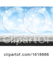 3D Snowy Landscape With Falling Snowflakes And Wooden Table