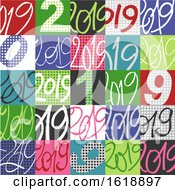 Colorful Patterned 2019 New Year Tile Background