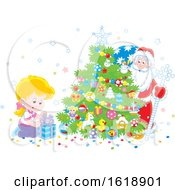 Blond Girl Looking At A Gift As Santa Peeks From Behind A Christmas Tree
