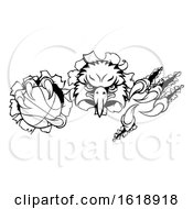 Poster, Art Print Of Eagle Basketball Cartoon Mascot Ripping Background
