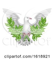 White Dove Peace With Olive Branch by AtStockIllustration