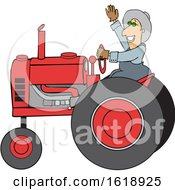 Cartoon Happy Male Farmer Waving While Operating A Tractor