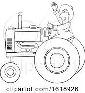 Cartoon Black And White Happy Male Farmer Waving While Operating A Tractor