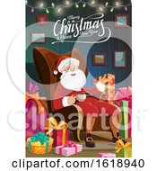 Merry Christmas And Happy New Year Greeting With Santa