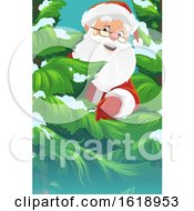 Santa Claus Peeking Around A Tree by Vector Tradition SM