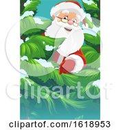 Santa Claus Peeking Around A Tree